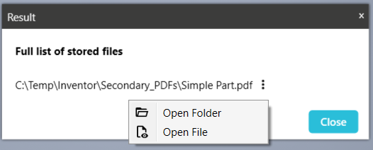 A successful creation of secondary file data, you now have two options to look at it.