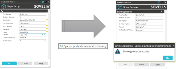 Sovelia Inventor_Sync properties from model to drawing